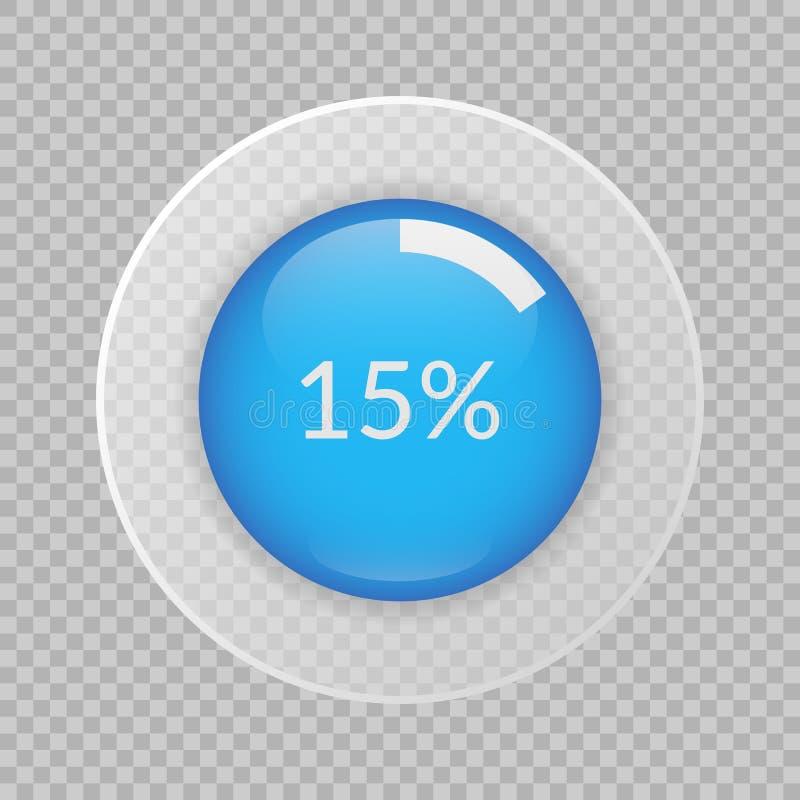 15 procentów pasztetowa mapa na przejrzystym tle Odsetek wektorowa infographic ikona royalty ilustracja