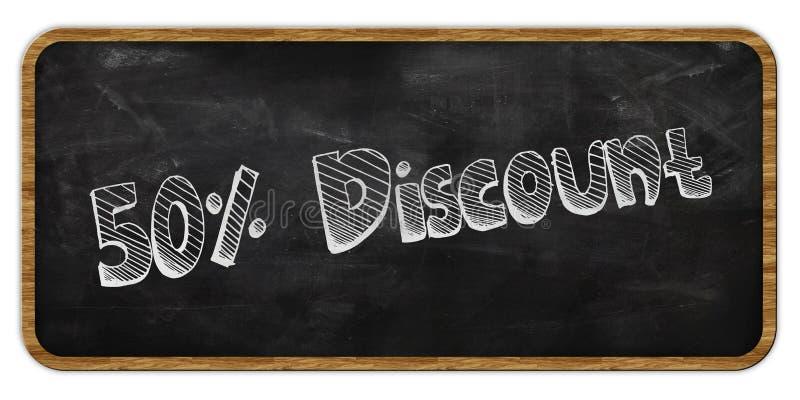 50 procentów rabat pisać w kredzie na blackboard ramowy drewna ilustracja wektor