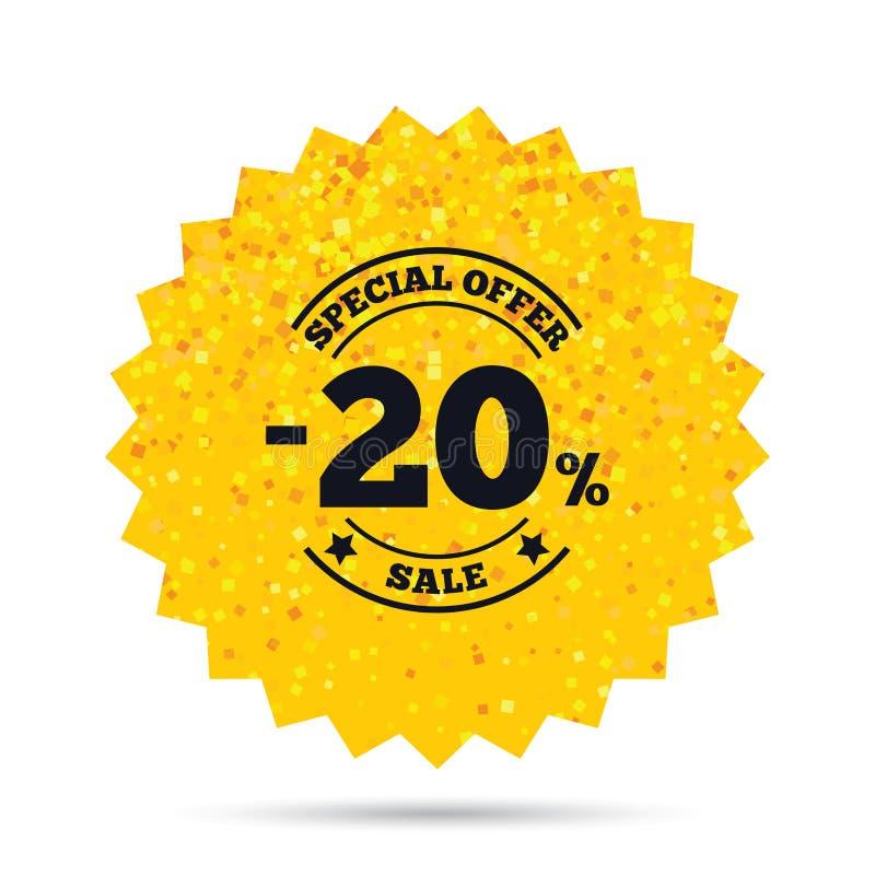20 procentów rabata znaka ikona Sprzedaż symbol royalty ilustracja