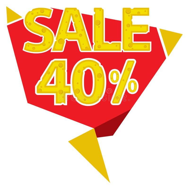 40 procentów sprzedaży etykietka royalty ilustracja