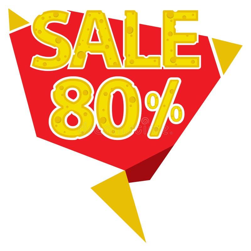 80 procentów sprzedaży etykietka ilustracja wektor