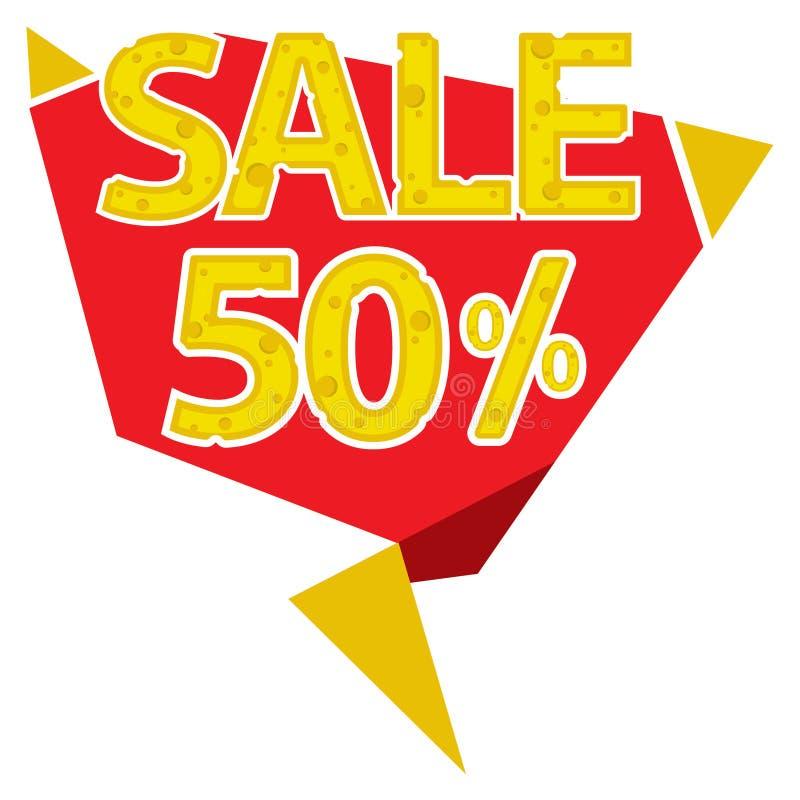 50 procentów sprzedaży etykietka ilustracji