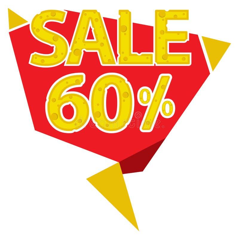 60 procentów sprzedaży etykietka royalty ilustracja