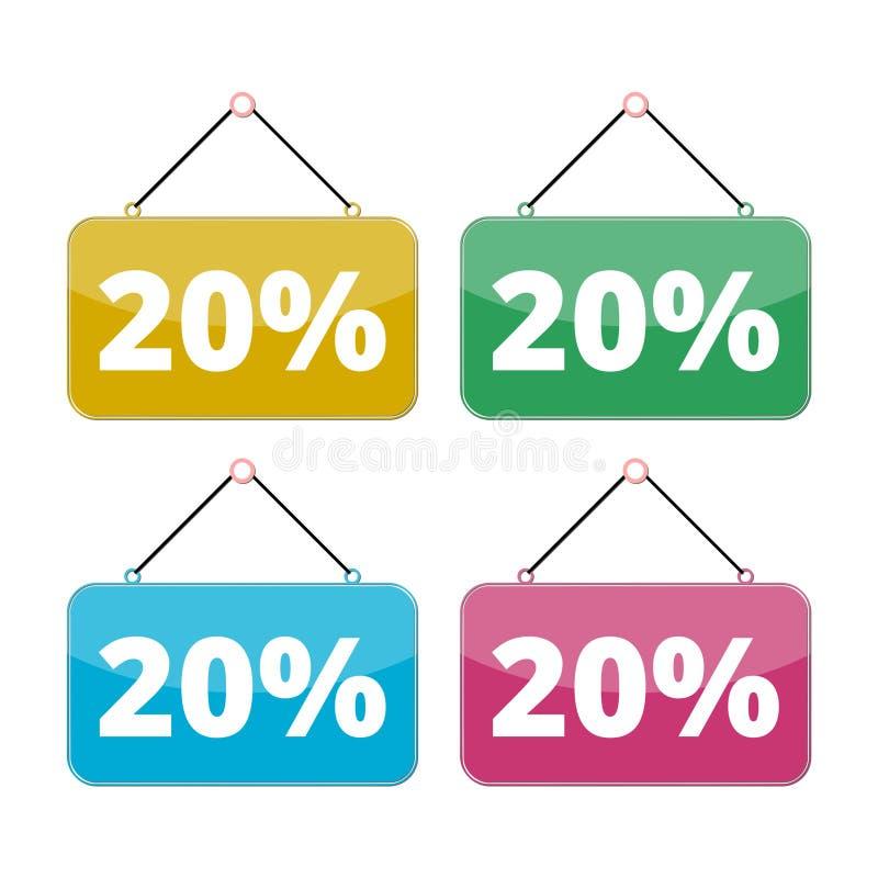 20 procentów sprzedaży ikony set, rabat 10% royalty ilustracja