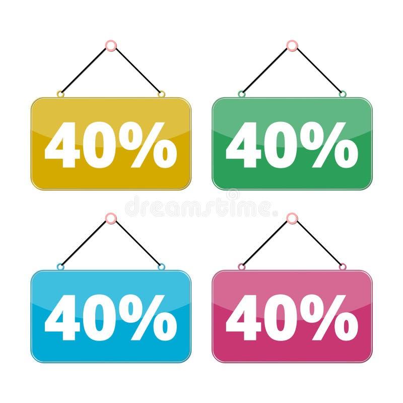 40 procentów sprzedaży ikony set, rabat 40% royalty ilustracja