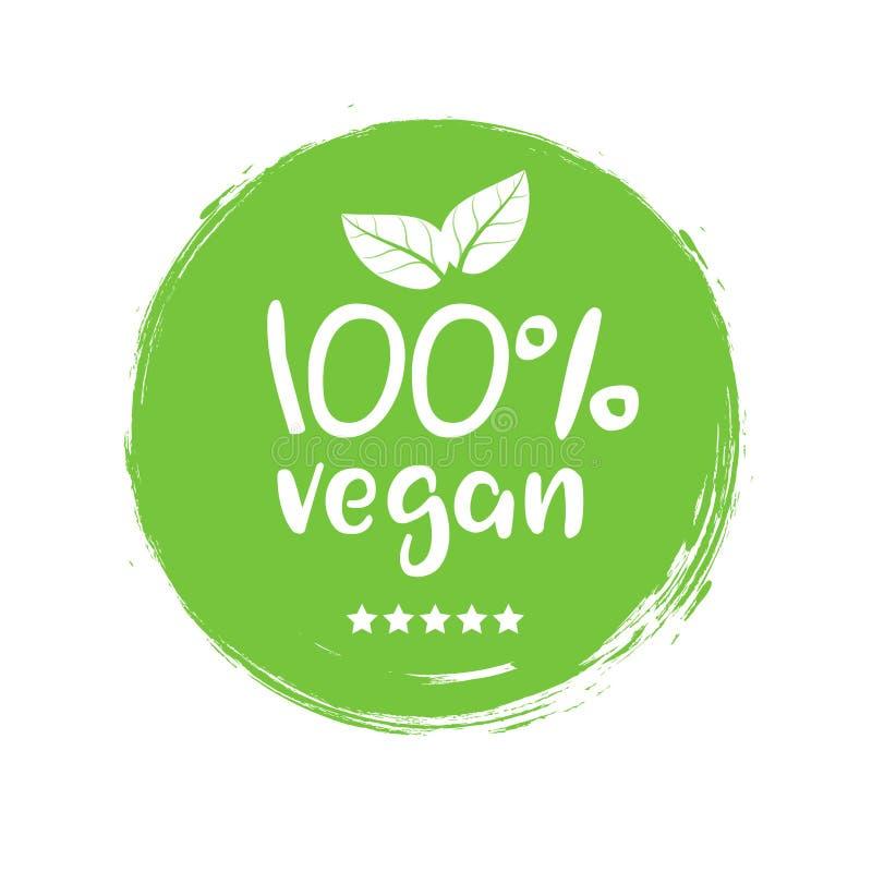 100 procentów weganinu logo wektoru ikona Jarska żywności organicznej etykietki odznaka z liściem Zielony naturalny weganinu symb ilustracja wektor