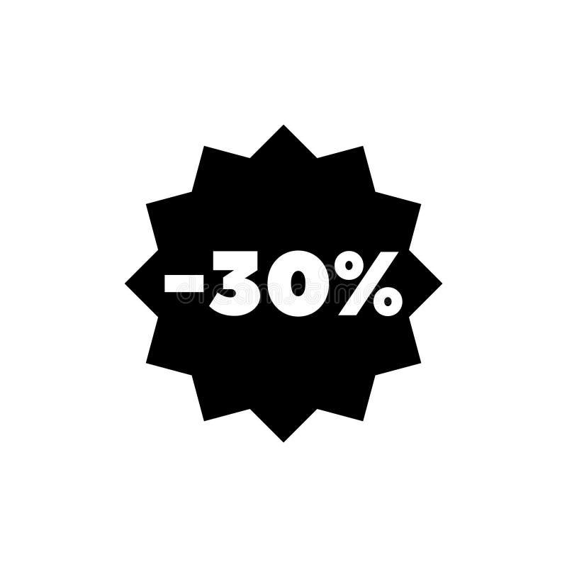 30 procentów Z sprzedaż rabata Płaskiej Wektorowej ikony ilustracja wektor