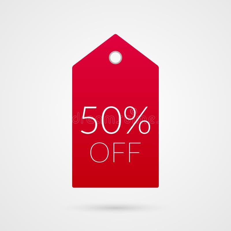 50 procentów z zakupy etykietki ikony Dyskontowy symbol Ilustracja znak dla sprzedaży, reklama, wprowadzać na rynek projekt royalty ilustracja