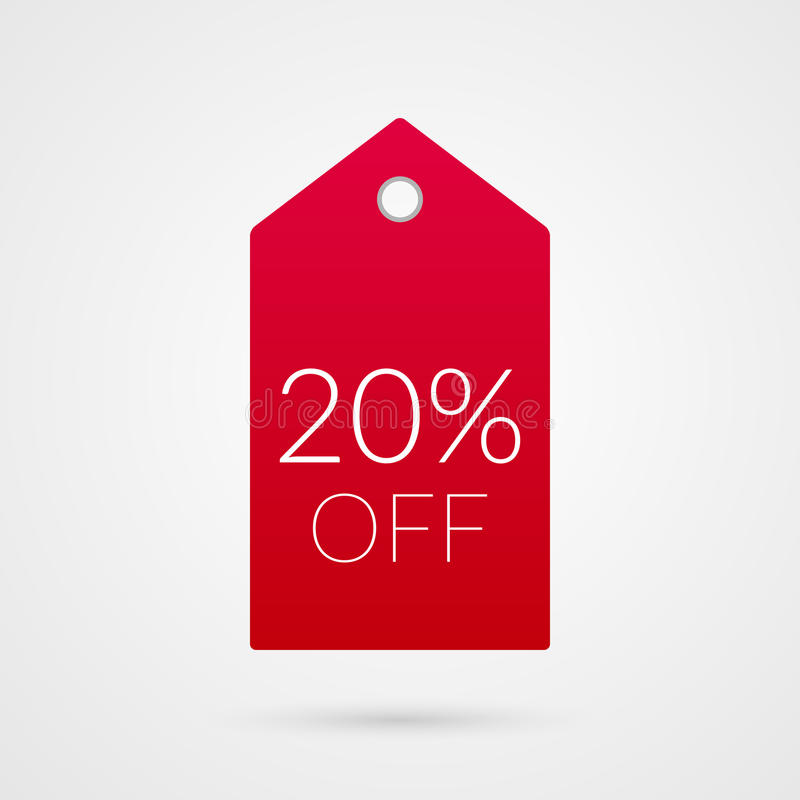 20 procentów z zakupy etykietki wektoru ikony Odosobniony dyskontowy symbol Ilustracja znak dla sprzedaży, biznes, sklep royalty ilustracja