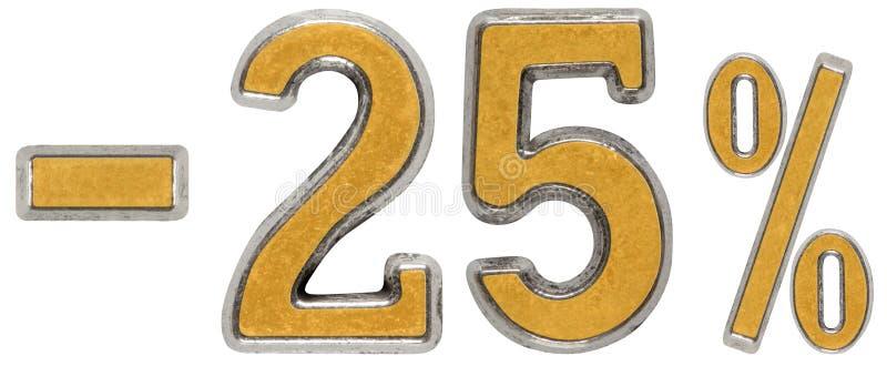 Procent av rabatt Negativ 25 tjugofem, procent Metall nu arkivbild