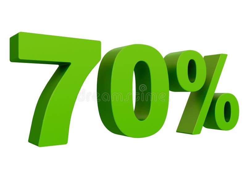 Procent av rabatten % 3d gör grön text som isoleras på en vit tolkning för bakgrund 3d vektor illustrationer