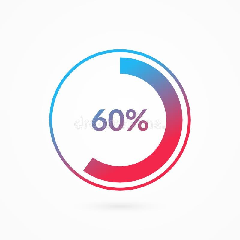 60 procent blått och rött för lutningpajdiagram tecken Infographic symbol f?r procentsatsvektor Isolerat cirkeldiagram, symbol vektor illustrationer