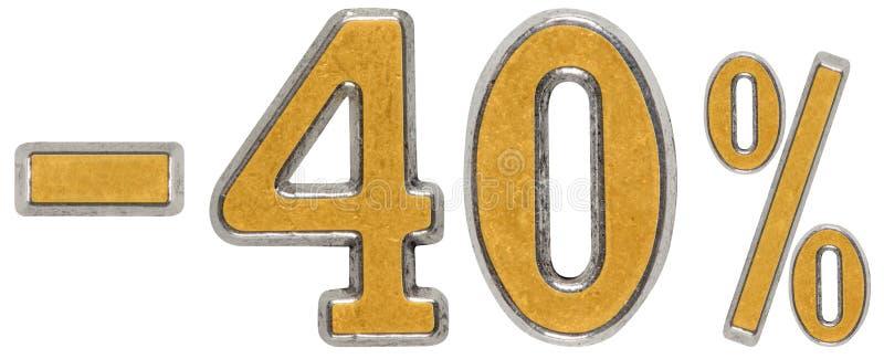 Procent daleko rabat Minus 40, czterdzieści, procent Metalu liczebnik, fotografia royalty free