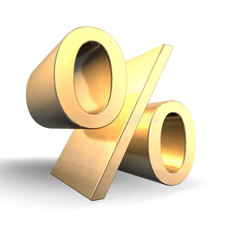 procent för guld 3d royaltyfri fotografi