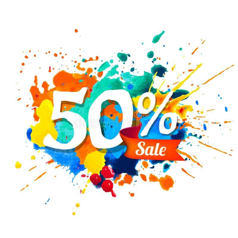 50 procent försäljning Färgstänkmålarfärg royaltyfri illustrationer