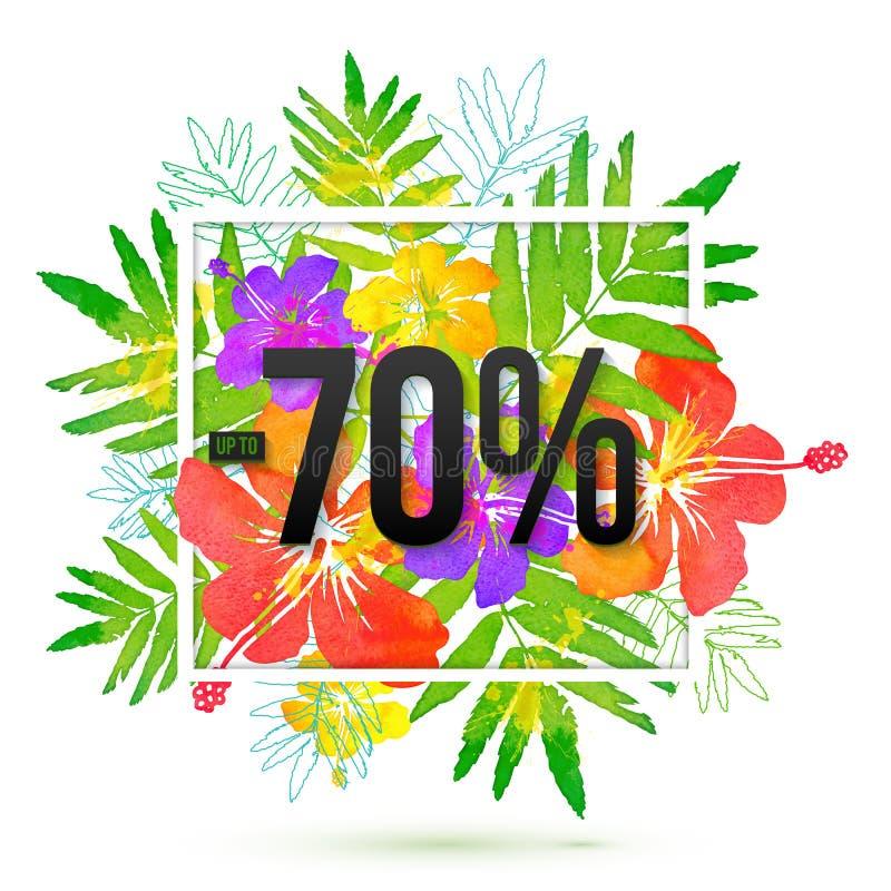 70 procent mall för rabattbanervektor på bakgrund för sidor för vattenfärgstil som tropisk isoleras på vit stock illustrationer