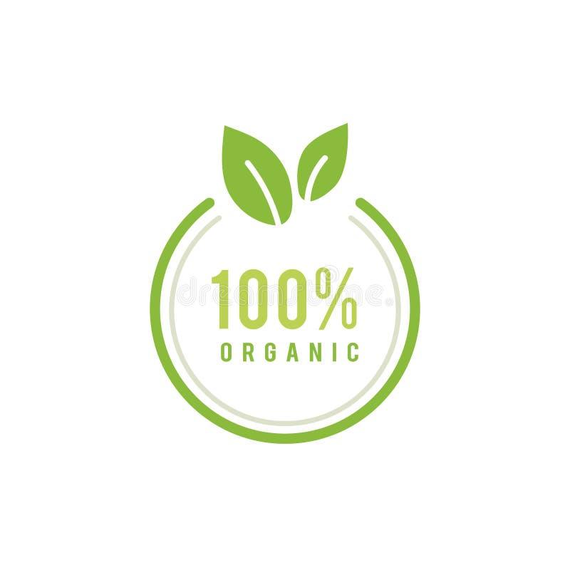 100 procent organisk emblemillustration stock illustrationer