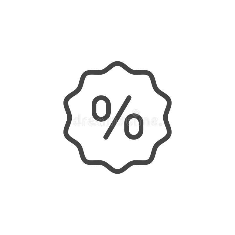 Procent podpisuje wewnątrz bąbel kreskową ikonę Dyskontowy i promocyjny symbol, obrachunkowa stopa procentowa, pieniężna, kalkula royalty ilustracja