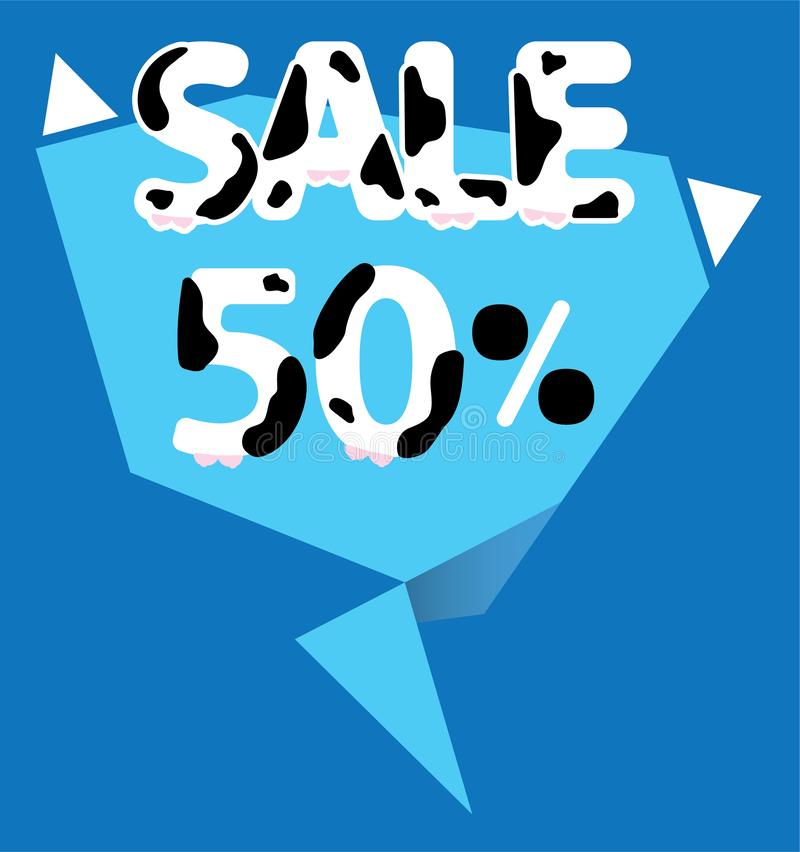 50 procent Sale etikett vektor illustrationer