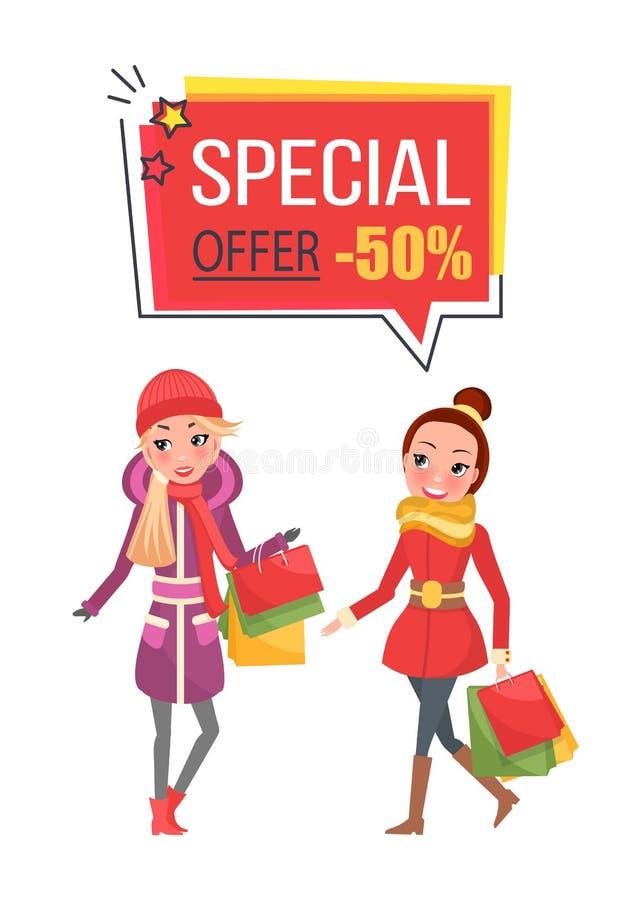 Procent Sale för specialt erbjudande femtio på jul stock illustrationer