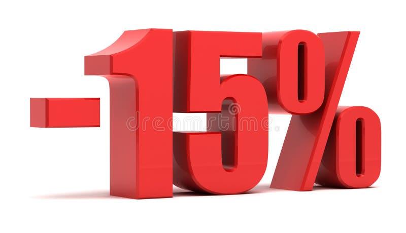 15 procent text för rabatt 3d stock illustrationer
