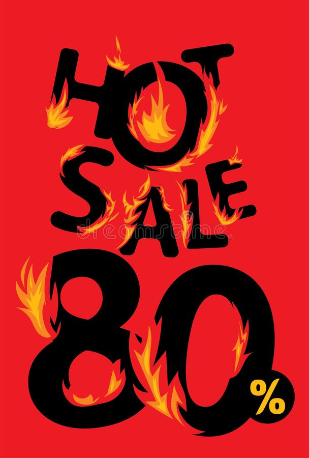80 procent varmt försäljningsbaner vektor illustrationer