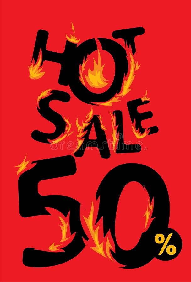 50 procent varmt försäljningsbaner royaltyfri illustrationer