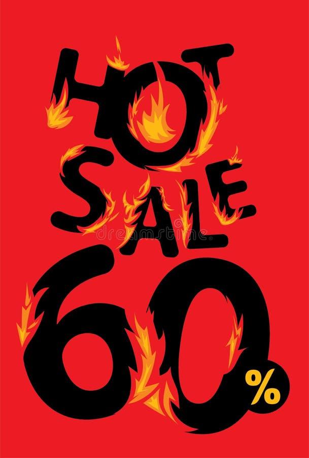 60 procent varmt försäljningsbaner royaltyfri illustrationer
