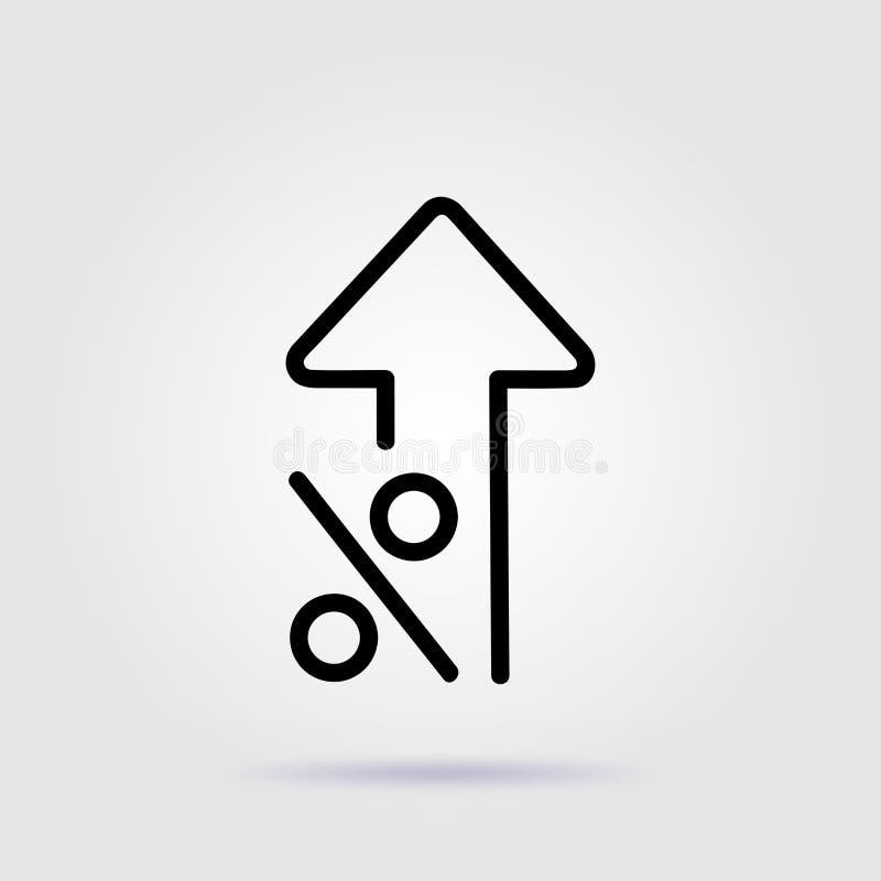 Procent w górę kreskowego ikony tempa wzrosta z miękkim cieniem ilustracja wektor