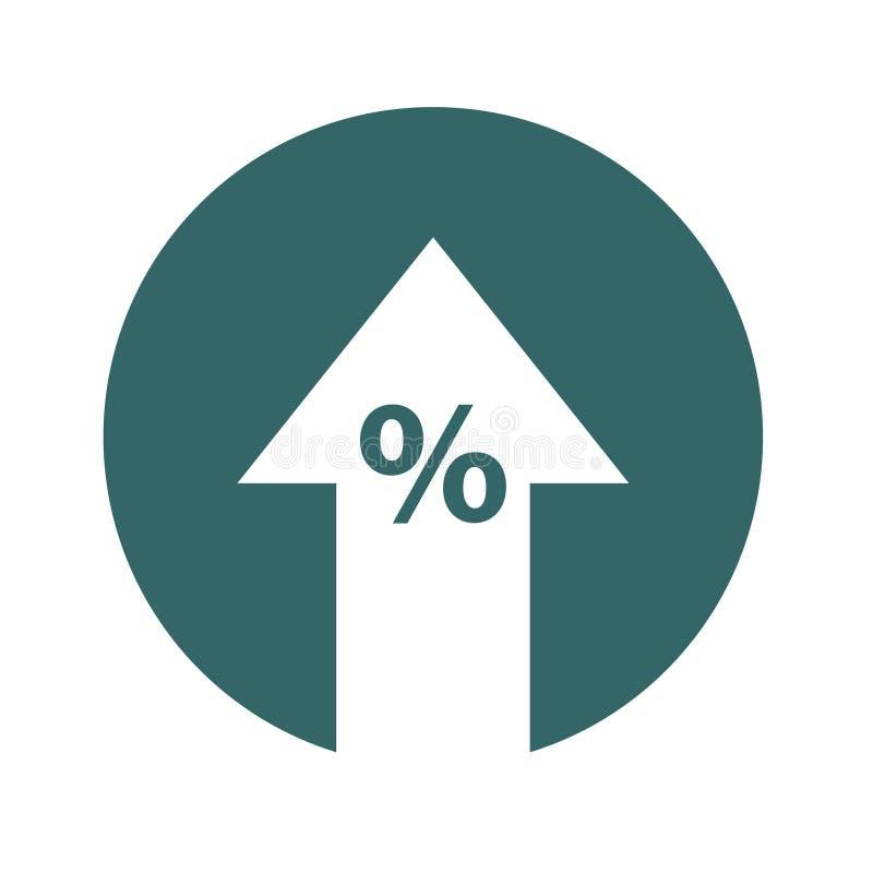 Procent w górę kreskowej ikony Odsetek, strzała, redukcja bankowości pojęcie wręcza pieniądze odsetka symbol ilustracja wektor