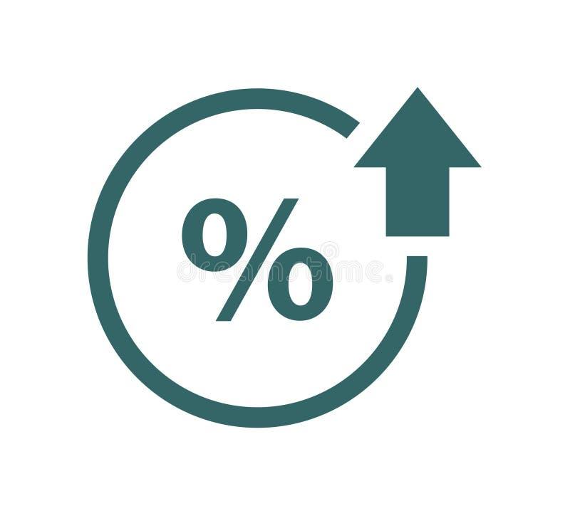 Procent w górę kreskowej ikony Odsetek, strzała, redukcja bankowości pojęcie wręcza pieniądze odsetka symbol royalty ilustracja