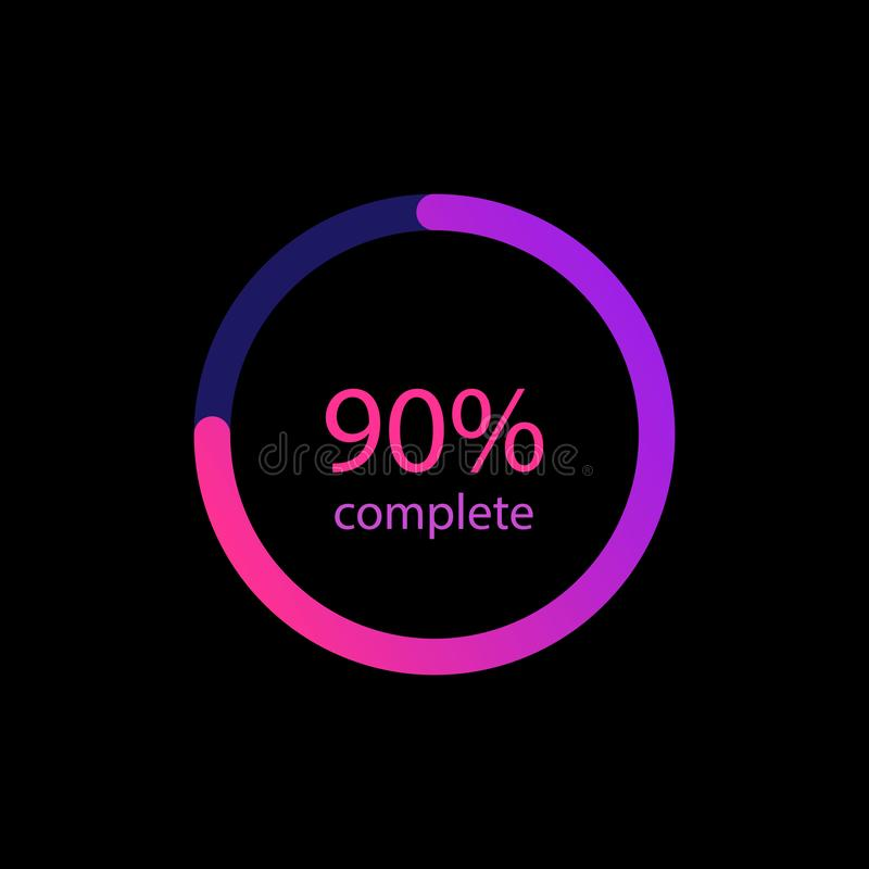 90% procent w gradientowym koloru okręgu Rozjarzona kolorowa ładowacz ikona Ładować bary dla sieci, ogólnospołeczni środki eps10  ilustracja wektor