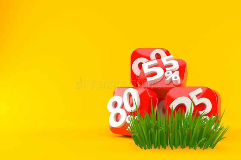 Procentnummer på gräs royaltyfri illustrationer