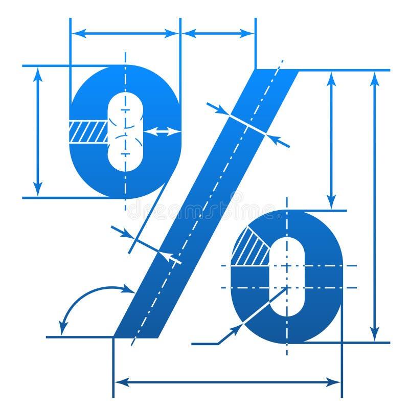 Procentu symbol z wymiarowymi liniami ilustracji