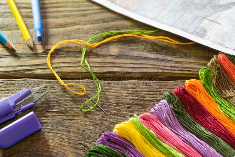 Proces ścieg Igły, floss, plan, nożyce, ołówki i pióro na drewnianym stole, zdjęcie royalty free