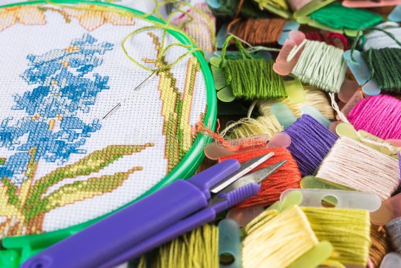 Proces ścieg Kanwa na obręczach, igłach, hafciarskim floss i wzorze, obraz stock