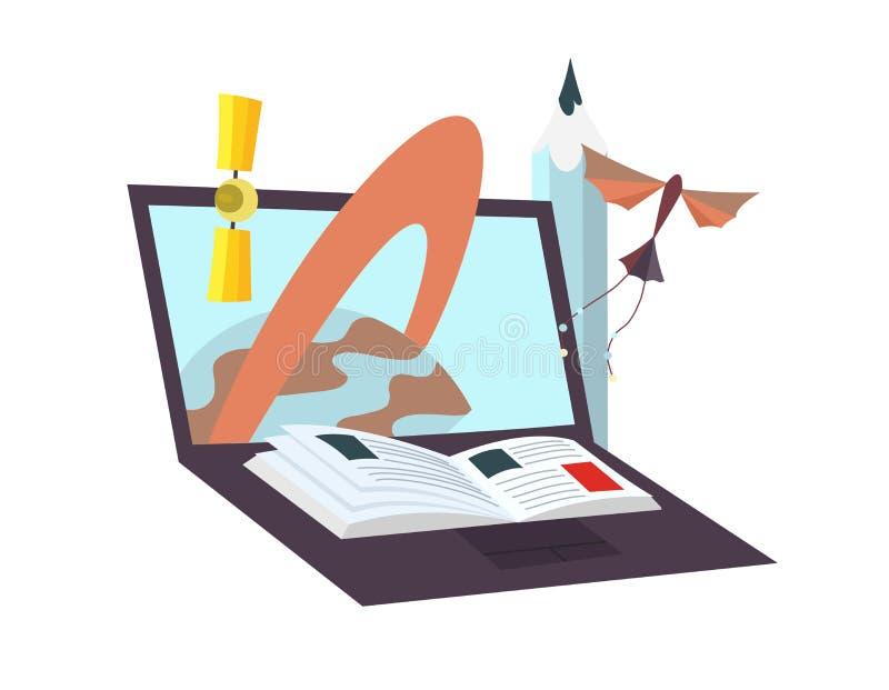 Proces edukacja Laptop jako ebook Nauka notatnika pojęcie z satelitą, książka, planeta, ołówek Online ilustracja wektor