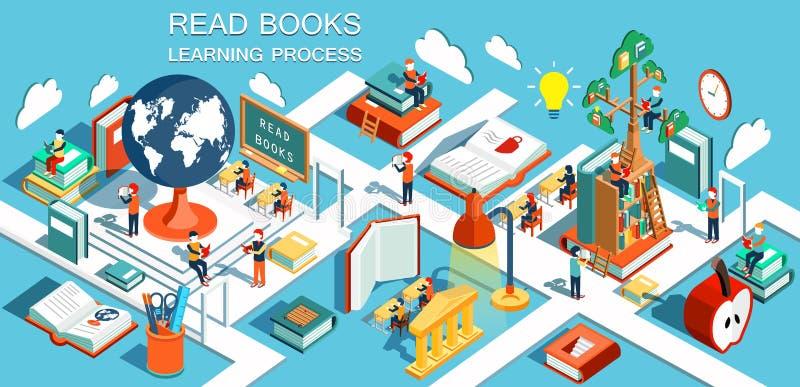 Proces edukacja pojęcie uczenie i czytelnicze książki w bibliotece w sala lekcyjnej i, royalty ilustracja