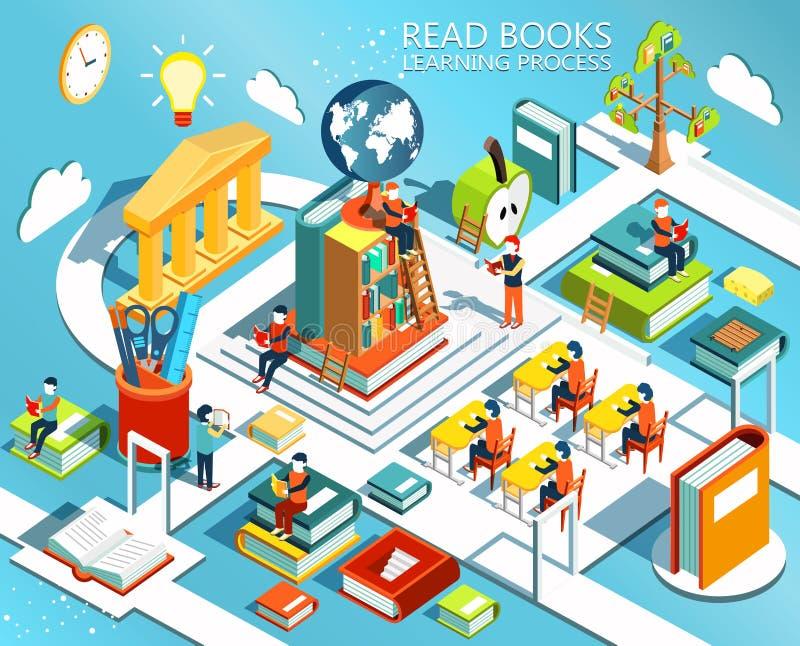 Proces edukacja pojęcie uczenie i czytelnicze książki w bibliotece w sala lekcyjnej i, ilustracja wektor