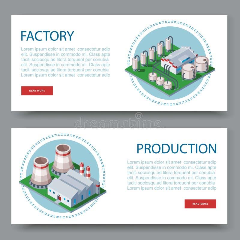 Proces fabryka Technologii rośliny set dwa płaskiego wektorowego sztandaru Zakłady produkcyjni i fabryk ikony z miejscem dla ilustracji