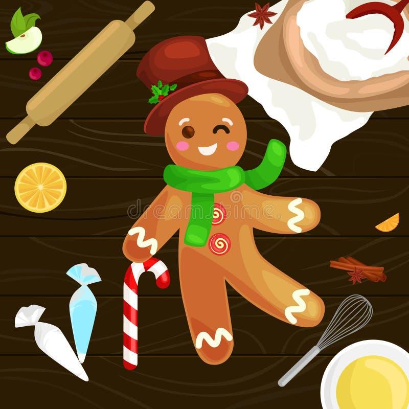 Proces narządzań boże narodzenia taktuje i cukierki na drewnianym kuchennym stole Piernikowy mężczyzna i składniki dla gotować ilustracja wektor