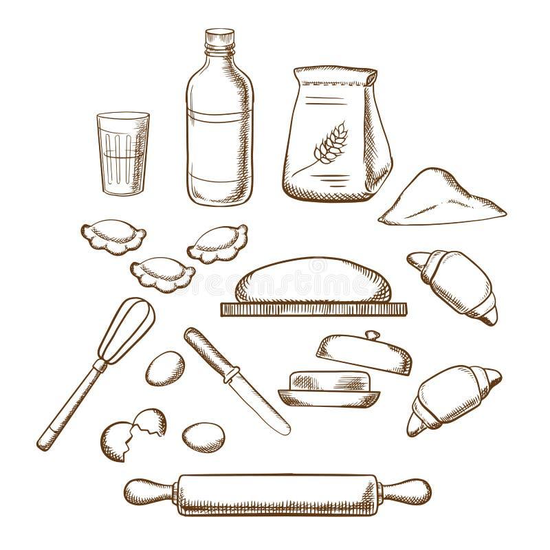 Proces om deeg in schetsstijl te kneden vector illustratie