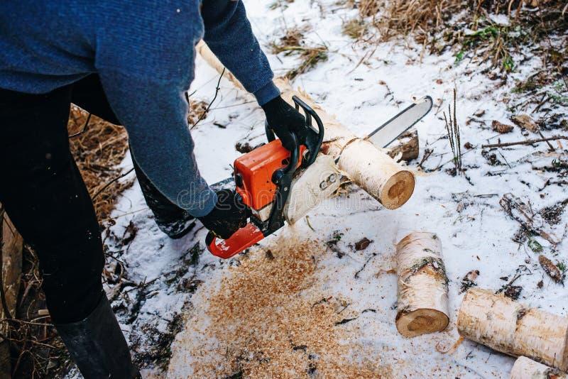 Proces om logboek door kettingzaag in de winter te zagen royalty-vrije stock foto's