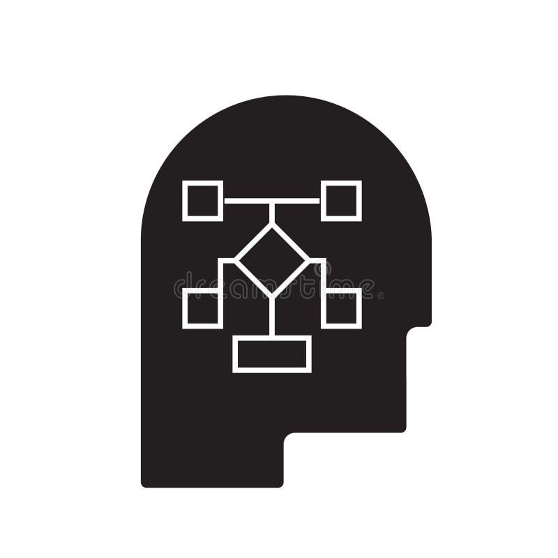 Proces planowania pojęcia kierownicza czarna wektorowa ikona Proces planowania kierownicza płaska ilustracja, znak ilustracji