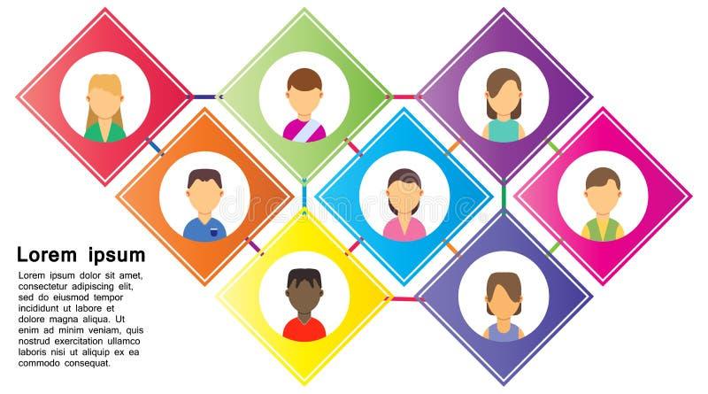 Proces pracy tła drużyny biznesowy wektor Biurowego miejsca pracy projekta cyfrowa ikona Brainstorming sukcesu strategii styl kre ilustracji