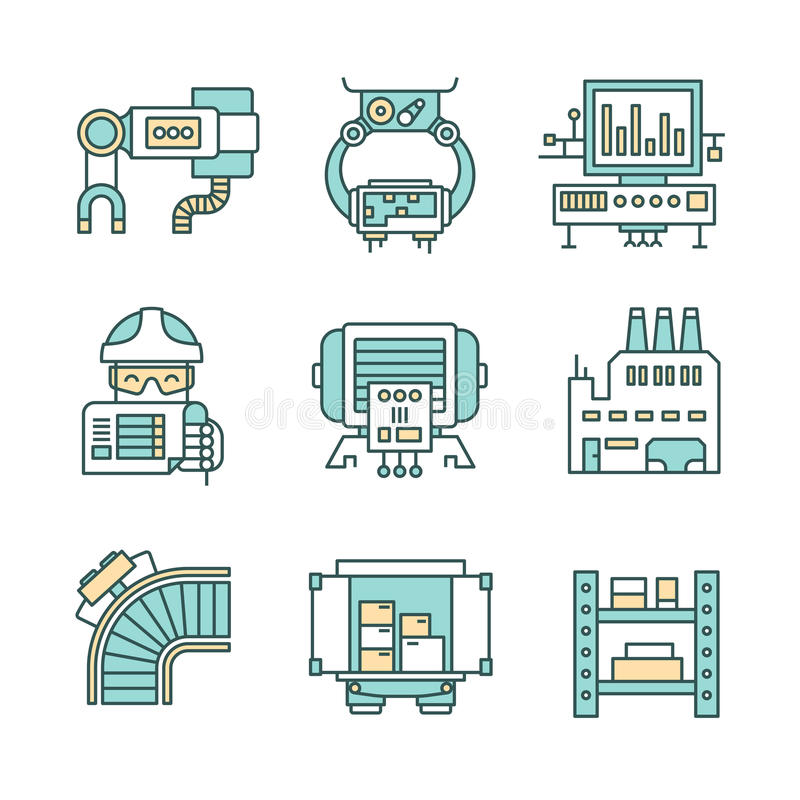 Proces Produkcyjny ikony ilustracja wektor