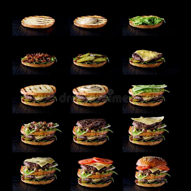 Proces robić hamburger na czerni, krok po kroku zdjęcie stock