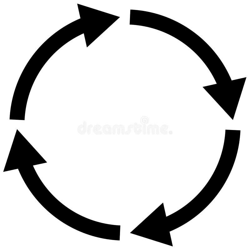 Proces symbol na białym tle cztery kroków cyklu strzały znak ilustracja wektor