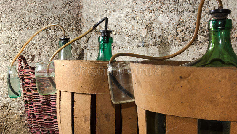 Proces van een gisting van wijn in korffleswijn stock foto