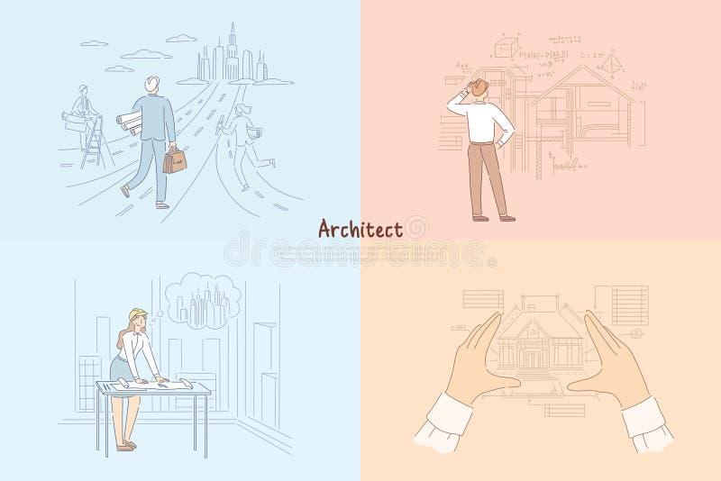 Proces van het architecten het creatieve werk, man die naar toekomstig stadsproject lopen, vrouw die cityscape banner ontwerpen royalty-vrije illustratie